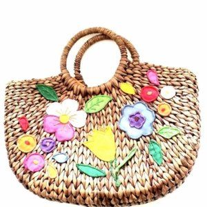Rattan Woven Basket Straw Bag With Flowers